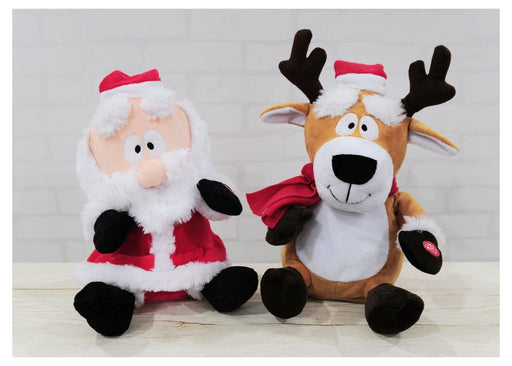 Plush Dancing Santa And Reindeer - 30cm