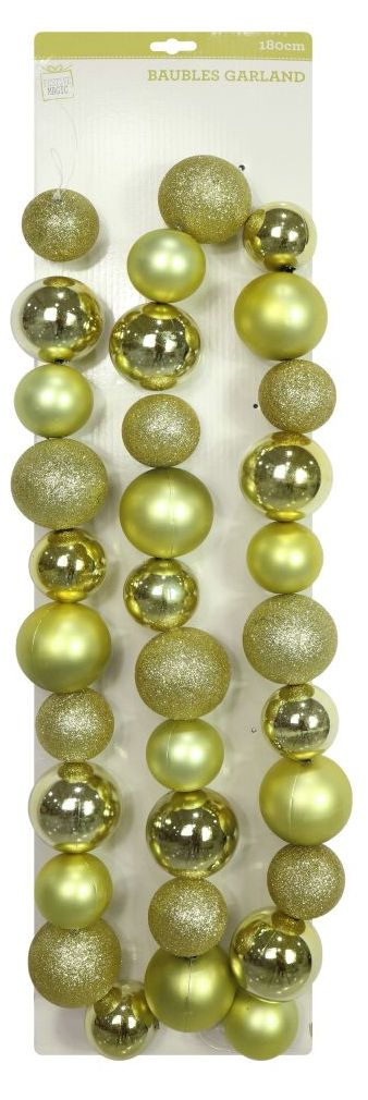 Gold Bauble Garland - 180cm