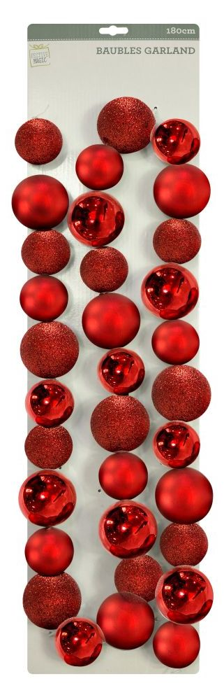 Red Bauble Garland - 180cm