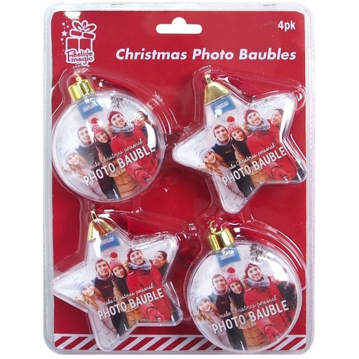 Christmas Photo Baubles - 4pc