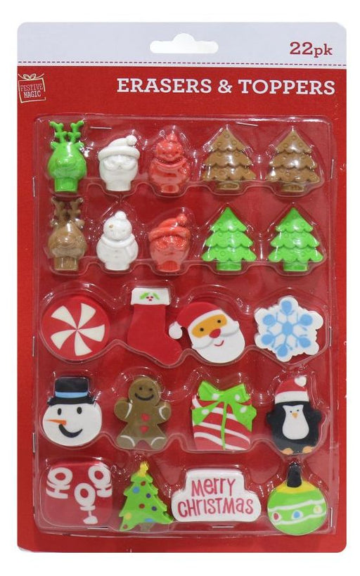 Christmas Eraser And Pencil Topper - 22pc