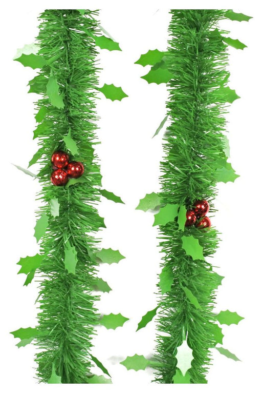 Green Tinsel With Holly - 2m