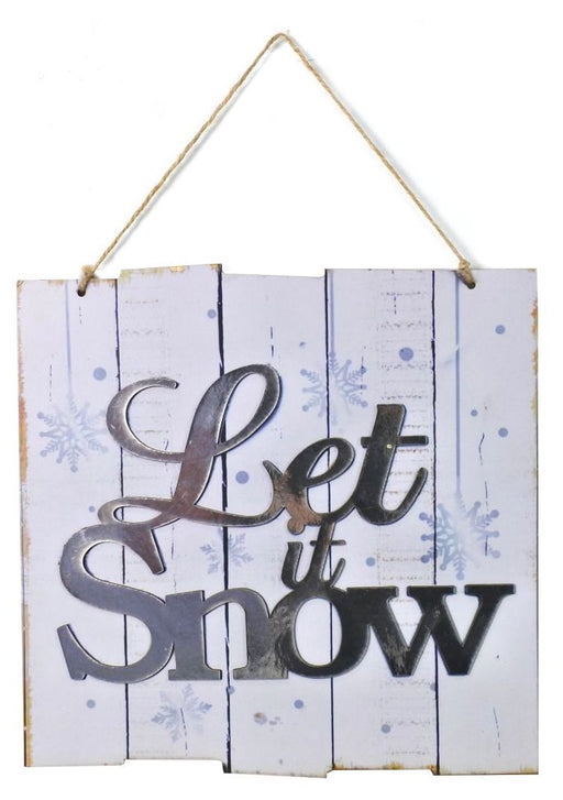 Let It Snow Wooden Effect Plaque - 25cm