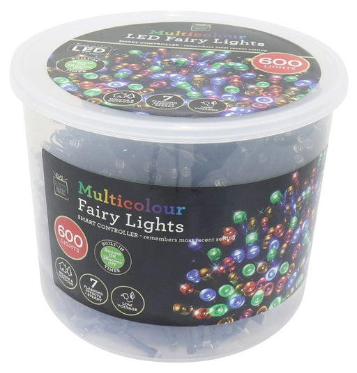 LED String Fairy Lights - 600 Multi Coloured Bulbs