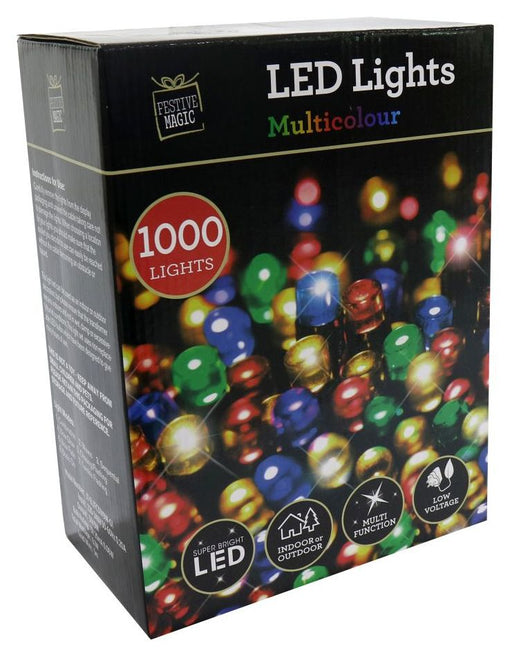 LED String Fairy Lights - 1000 Multi Coloured Bulbs