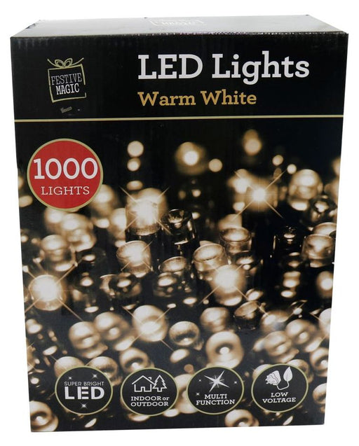 LED String Fairy Lights - 1000 Warm White Bulbs