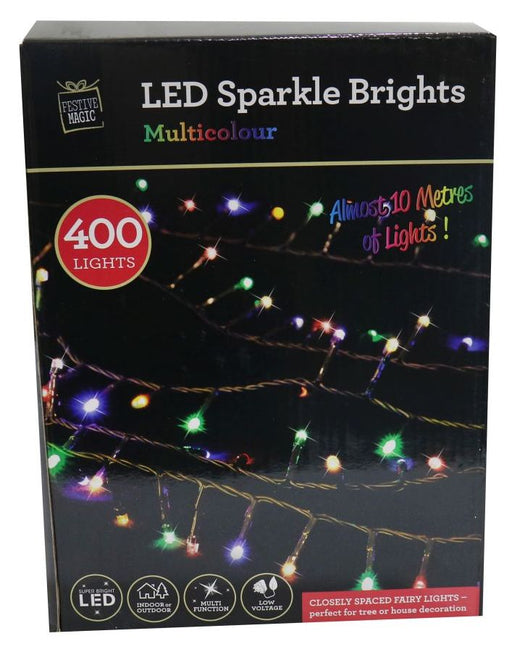 LED Compact String Fairy Lights - 400 Multi Coloured Bulbs