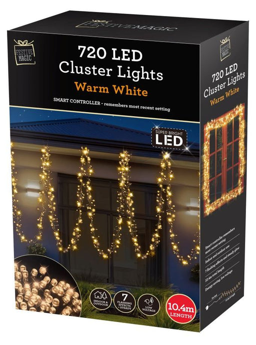 LED Cluster String Fairy Lights - 720 Warm White Bulbs