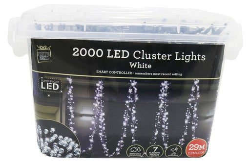 LED Cluster String Fairy Lights - 2000 White Bulbs