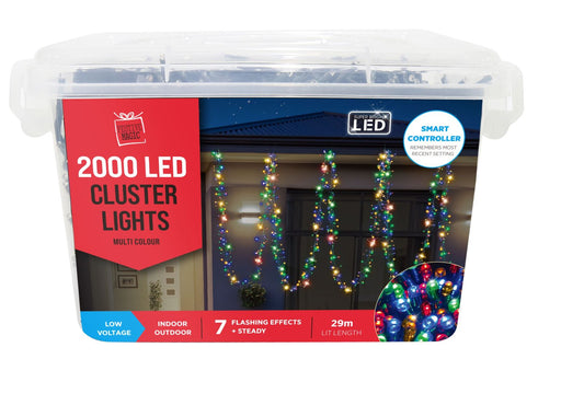 LED Cluster String Fairy Lights - 2000 Multi Coloured Bulbs
