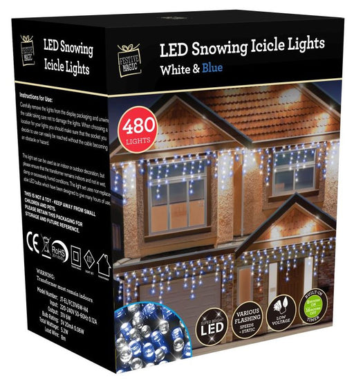 LED Timer Snowing Icicle String Fairy Lights - 480 White Blue Bulbs