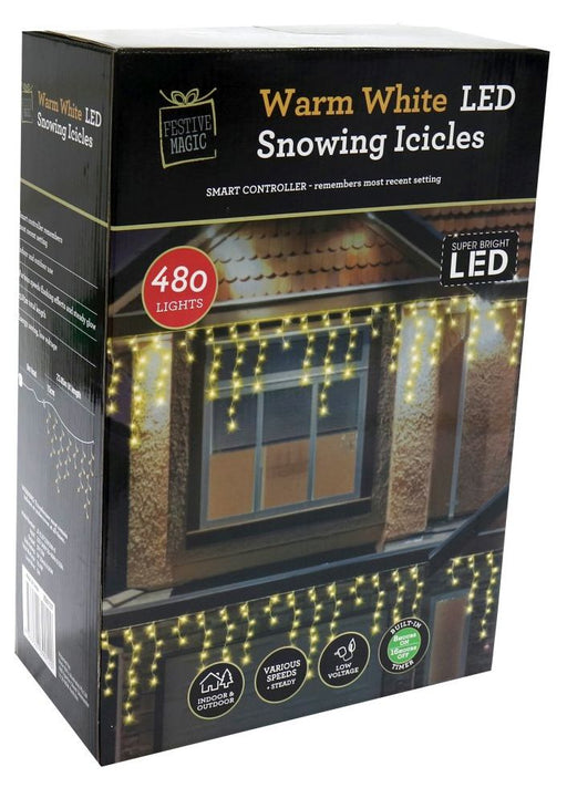 LED Timer Snowing Icicle String Fairy Lights - 480 Warm White Bulbs
