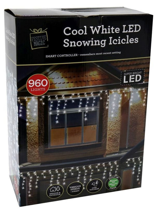 LED Timer Snowing Icicle String Fairy Lights - 960 White Bulbs