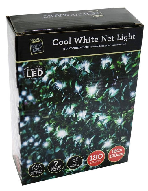 LED Net String Fairy Lights - 180 White Bulbs