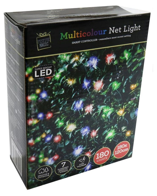 LED Net String Fairy Lights - 180 Multi Coloured Bulbs