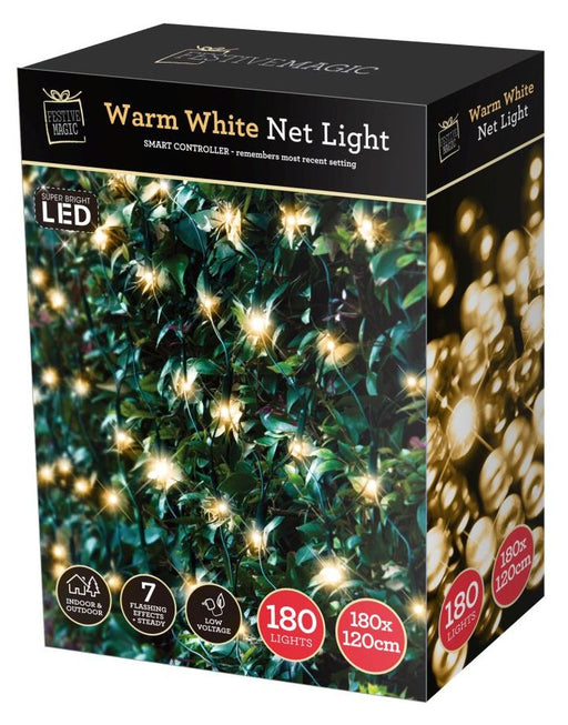 LED Net String Fairy Lights - 180 Warm White Bulbs