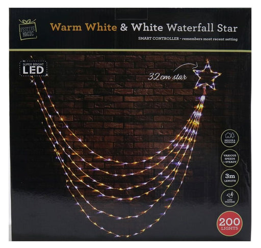 LED Waterfall Star Light - 200 White And Warm White Bulbs