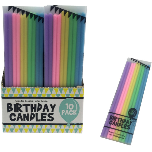 DISC Coloured Birthday Candles - 10pc