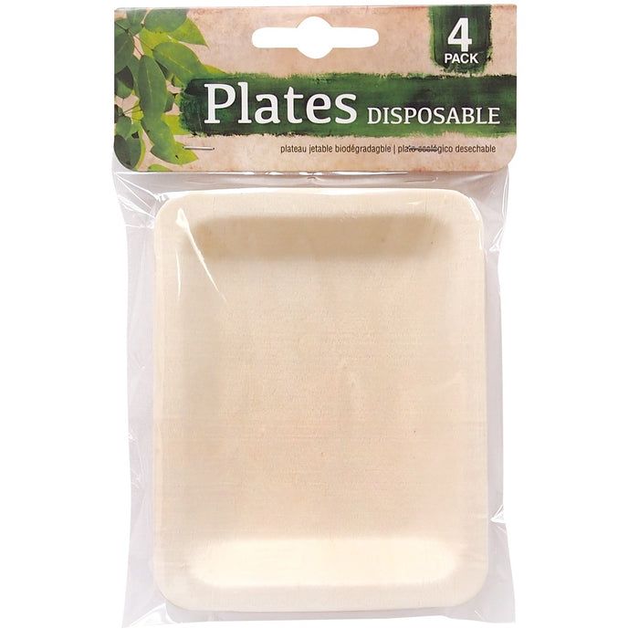 Disposable Eco Wooden Plates - 4 x 5""
