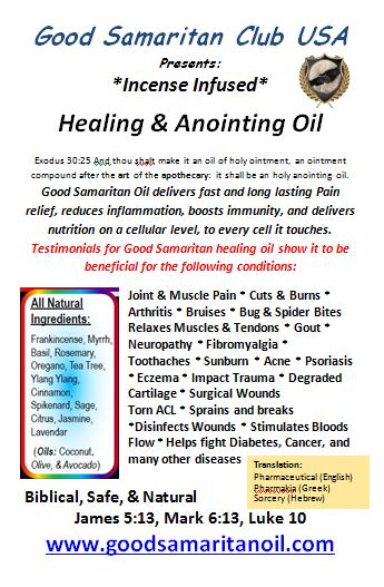 Good Samaritan Healing and Anointing oil. Unlock the natural healing power of frankincense & myrrh infused healing oils. Used for pain, inflammation, bug and spider bites, gout, nephropathy, fibromyalgae, arthritic pain and more.