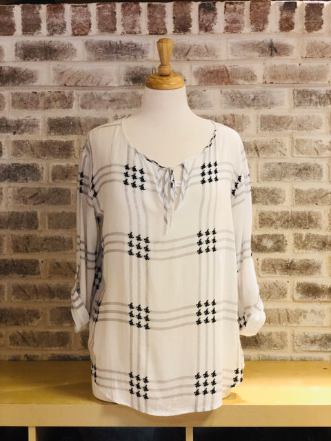 548 Black & White Blouse Checkered Top Shirt S