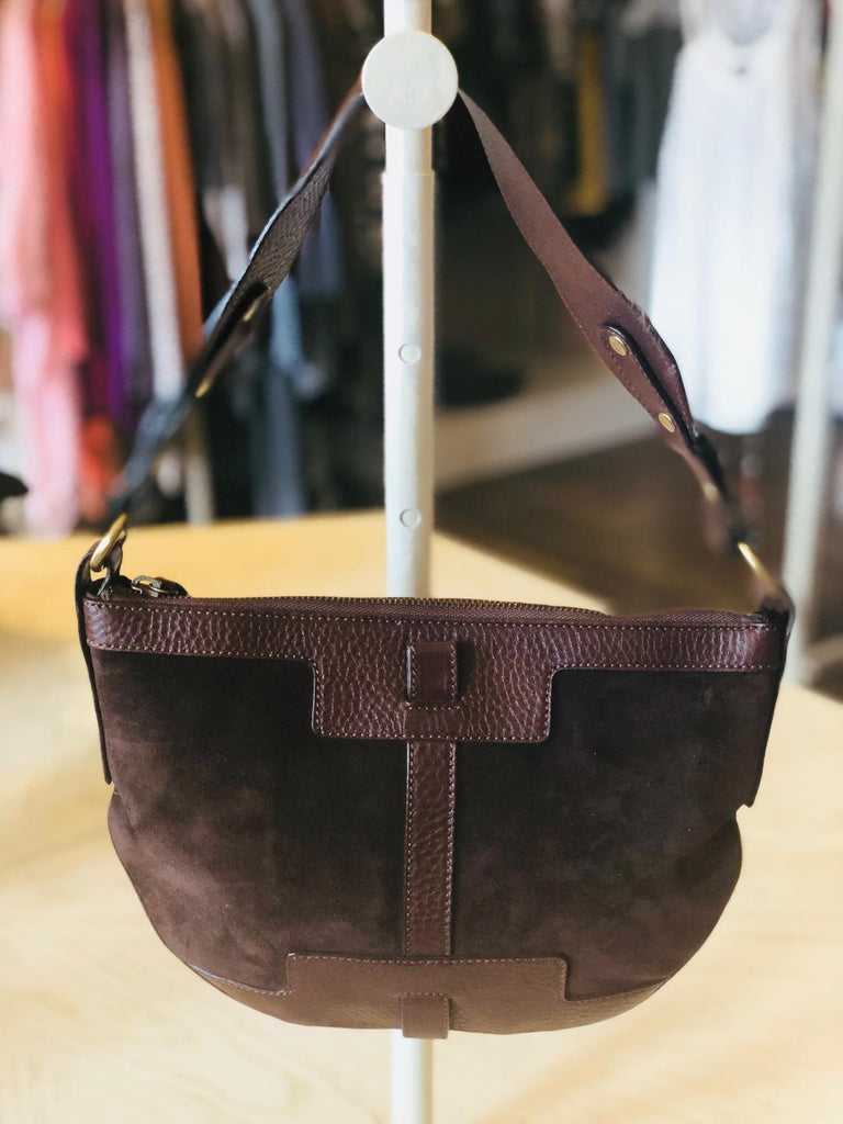 Burberry Brown Suede Handbag Purse with Leather Trim