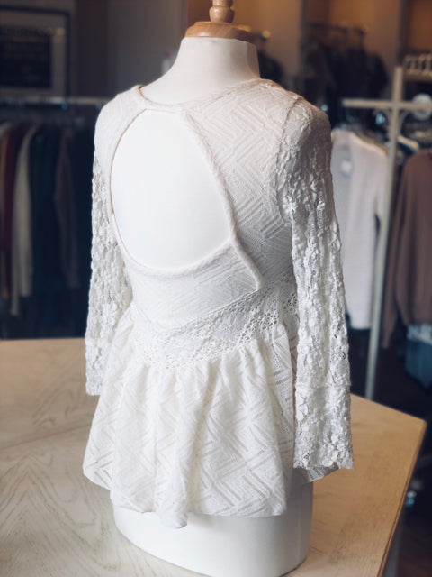 FREE PEOPLE Ivory Lace Babydoll Blouse Top XS