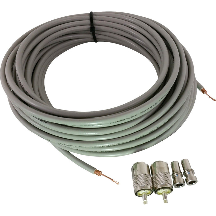 CB Radio Coax Cable - 100' Pre-stripped Tramflex RG8X Grey Tram Browning Base Coax Kit with Amphenol PL259 Connectors and Reducers