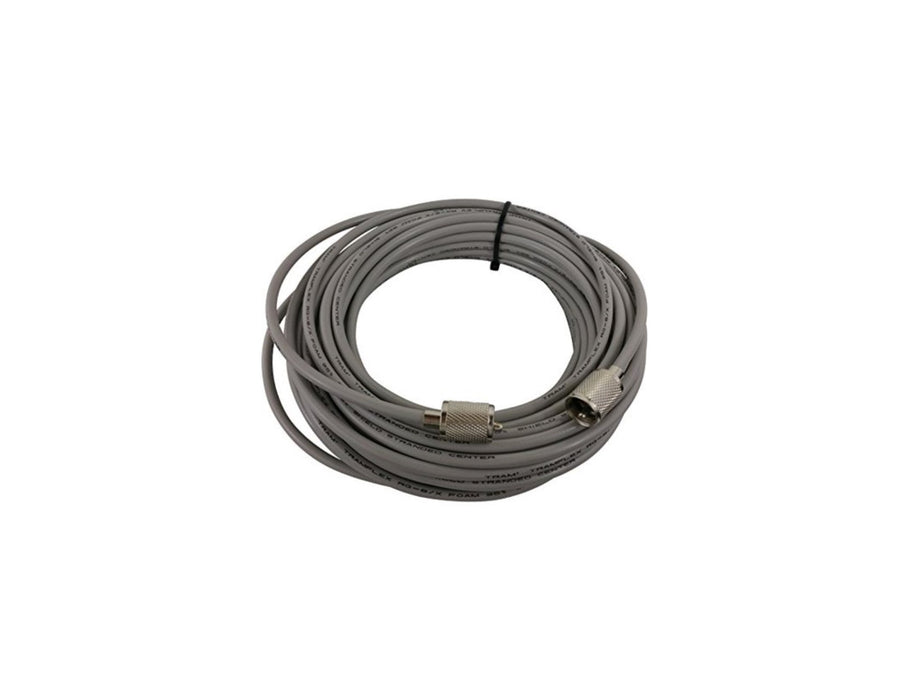 CB Radio Coax Cable - 50' True American Cable RG8X Grey Base Coax Cable with PL259 Connectors