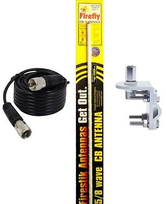 CB Radio Antenna - Firestik Firefly FL-3 White Combo Kit with 18' RG58 Coax and Mount