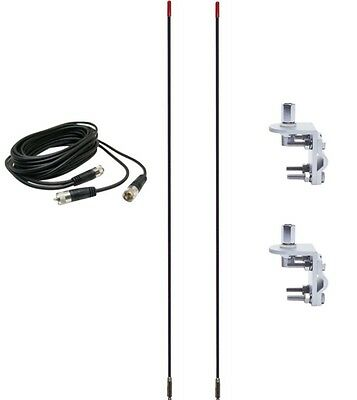 CB Radio Antenna - Francis Pre-Tuned CB25 Dual Combo Kit with 18' RG59u Dual Cophase Coax and Mounts