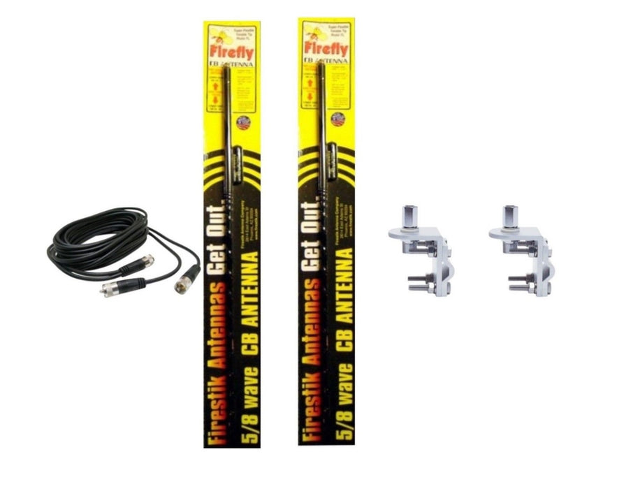 CB Radio Antenna - Firestik Firefly FL-4 Dual Combo Kit with 18' RG59u Dual Cophase Coax and Mounts