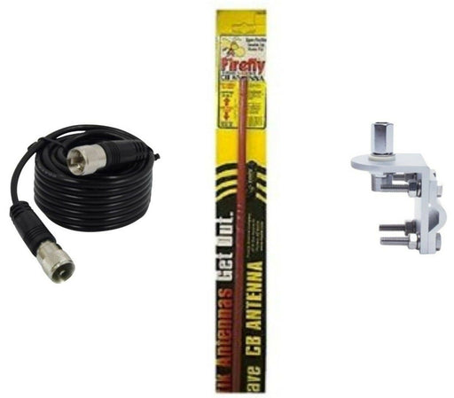 CB Radio Antenna - Firestik Firefly FL-3 Red Combo Kit with 18' RG58 Coax and Mount