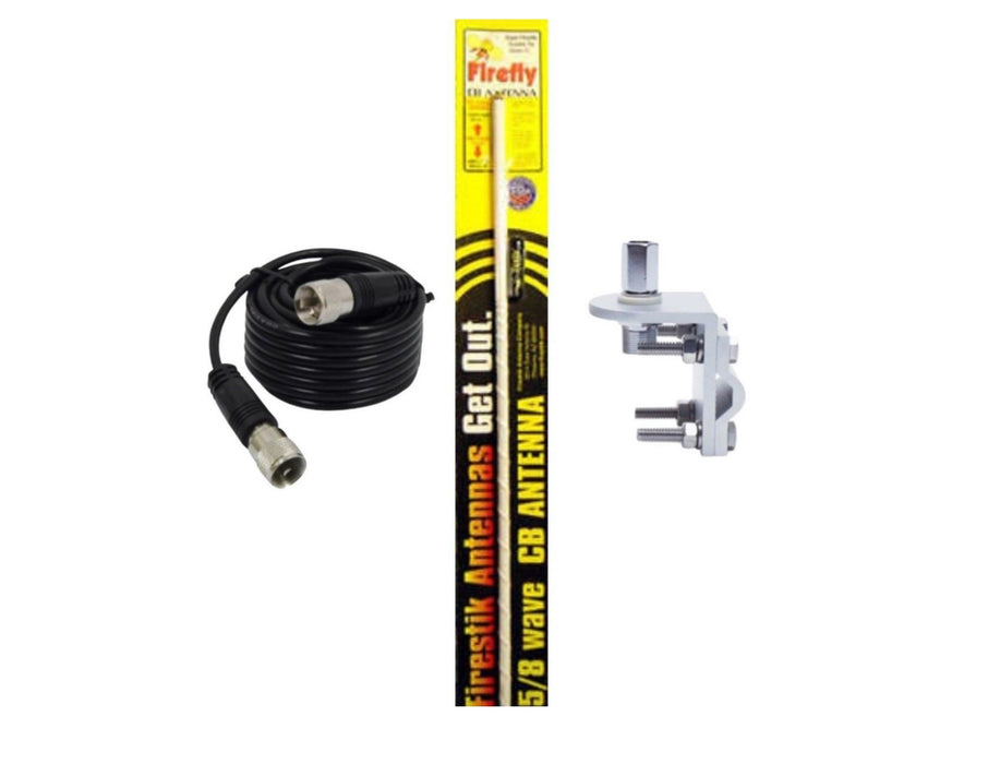 CB Radio Antenna - Firestik Firefly FL-4 White Combo Kit with 18' RG58 Coax and Mount