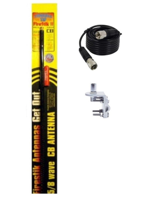 CB Radio Antenna - Firestik FS-2 Tunable Tip Fiberglass Combo Kit with 18' RG58 Coax and Mount