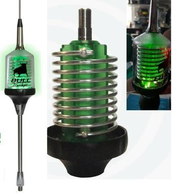 CB Radio Antenna - Bull Trucker 5000 3/8 w/ Shaft - Green LED!