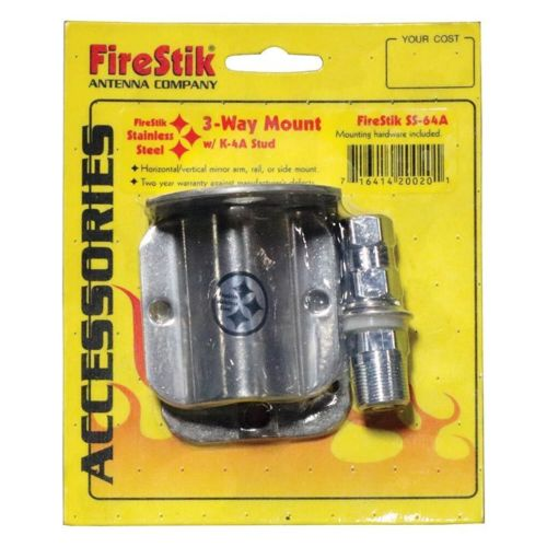 CB Radio Antenna Mount-Firestik SS64A Stainless Steel 3 Way CB Radio Antenna Mount