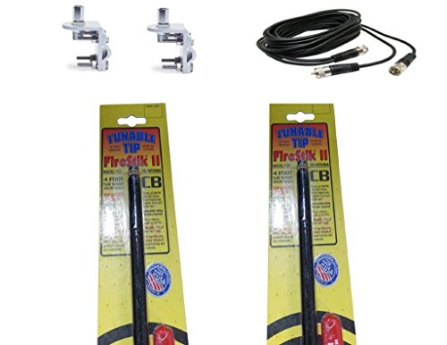 CB Radio Antenna - Firestik Firefly FS-4 Dual Combo Kit with 18' RG59u Dual Cophase Coax and Mounts