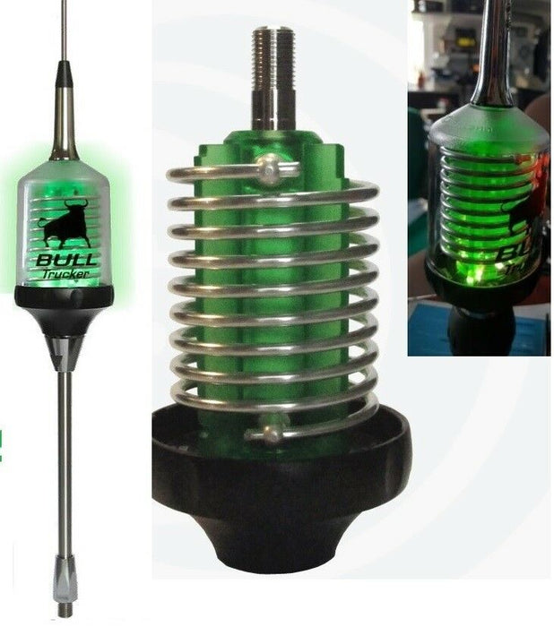 CB Radio Antenna - (x2) Sirio Bull Trucker 3000 Antenna w/ Green LED Shaft
