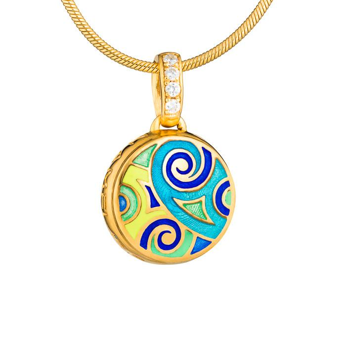 "Silver mini-pendant ""Freya"" with 18K gold plating. pom2029 - Namfleg Enamel Jewelry"
