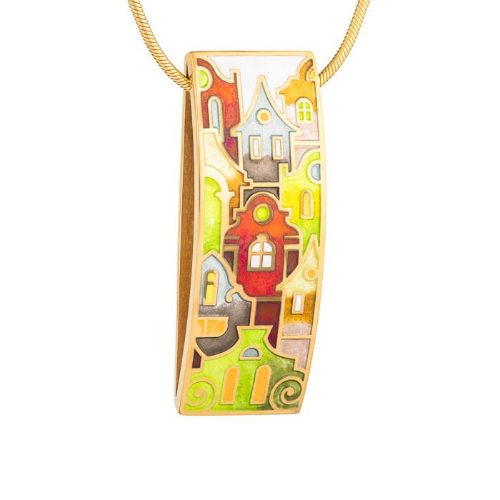 "Silver pendant ""Roman Holiday"" with 18K gold plating. pd2001p - Namfleg Enamel Jewelry"