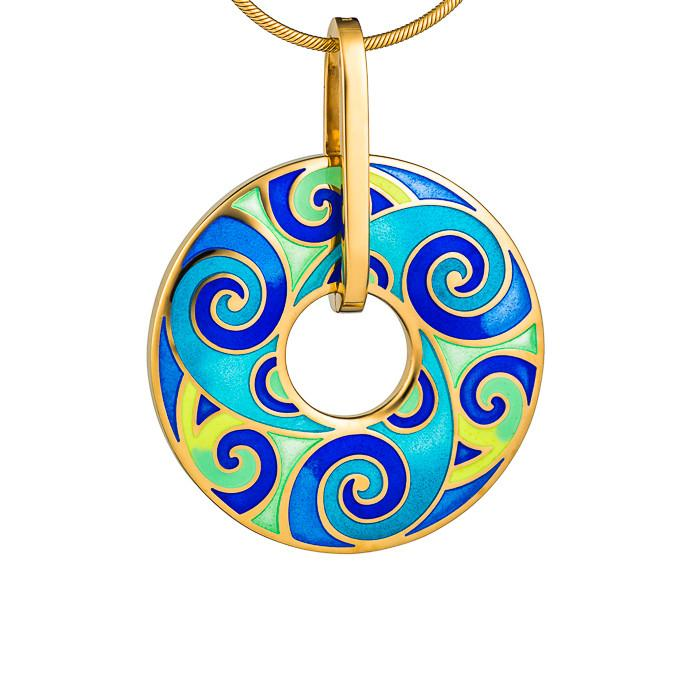 "Silver pendant ""Freya"" with 18K gold plating. po2029 - Namfleg Enamel Jewelry"