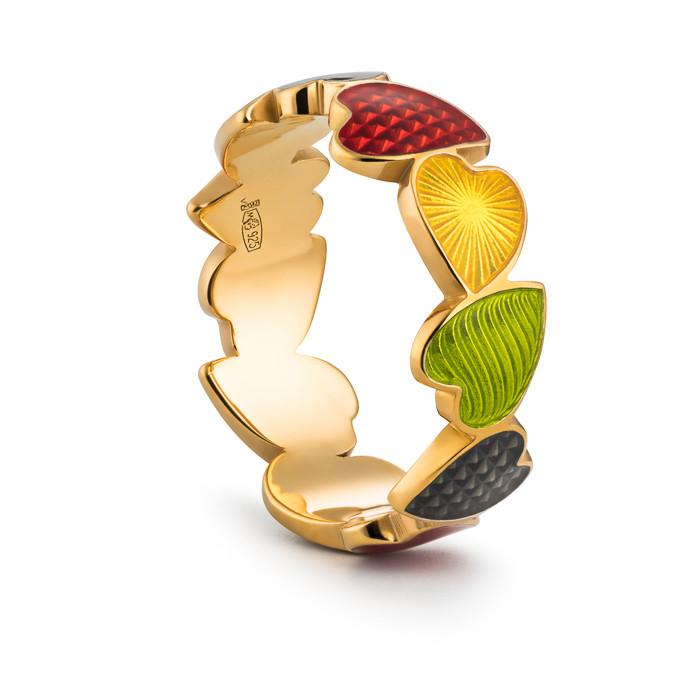 "Silver ring ""Fruity Heart"" with 18K gold plating. rs2002 - Namfleg Enamel Jewelry"
