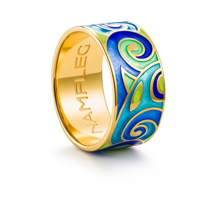 "Silver ring ""Freya""with 18K gold plating. ro2029 - Namfleg Enamel Jewelry"