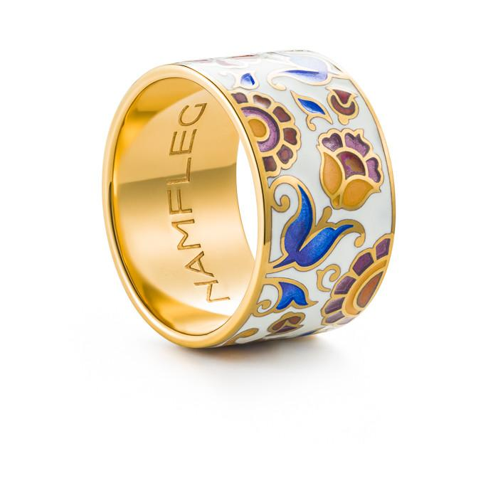 "Silver ring ""English Duchess""  with 18K gold plating. rm2001 - Namfleg Enamel Jewelry"