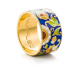 "Silver ring ""Spanish Marquise"" with 18K gold plating. rm2004 - Namfleg Enamel Jewelry"