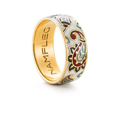 "Silver ring ""Chinese Silk"" with 18K gold plating. rr2029 - Namfleg Enamel Jewelry"