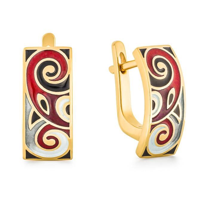 "Silver earrings ""Baldr"" with 18K gold plating. eo2014 - Namfleg Enamel Jewelry"