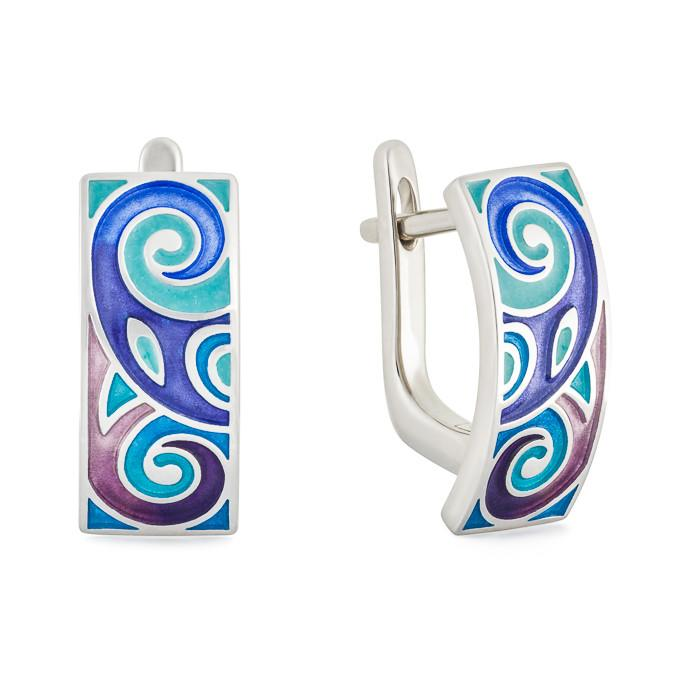 "Silver earrings ""Odin"". eo1031 - Namfleg Enamel Jewelry"