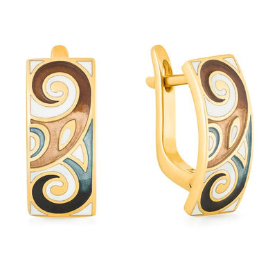 "Silver earrings ""Fenrir"" with 18K gold plating. eo2059 - Namfleg Enamel Jewelry"